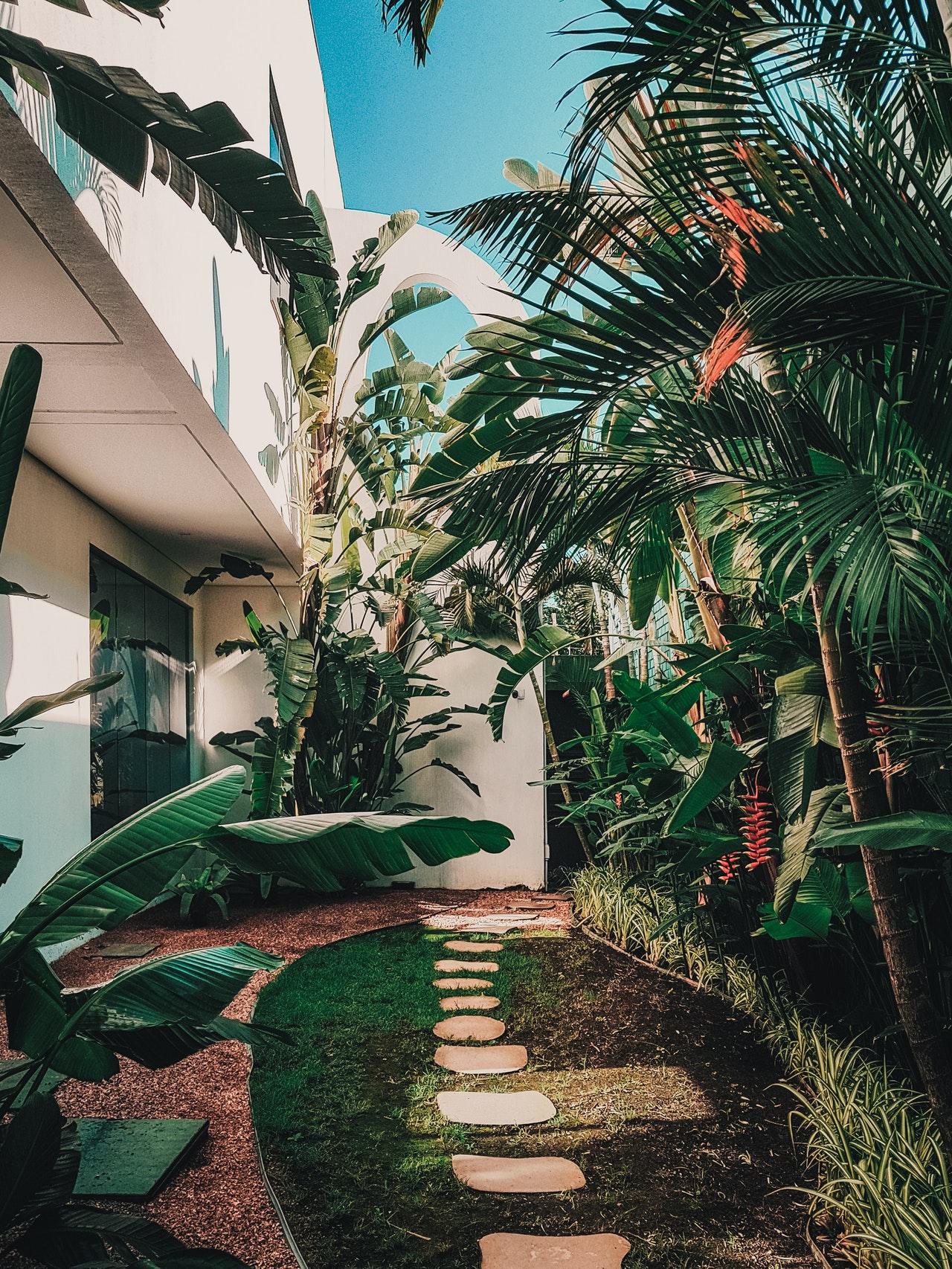 jardin d'une maison blanche avec des marches en roches